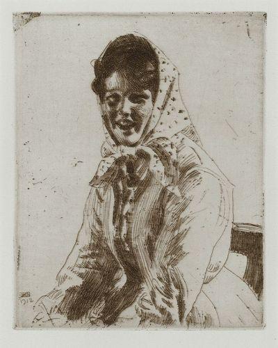 "Anders Zorn, etching, ""Skerikulla"" 1912"