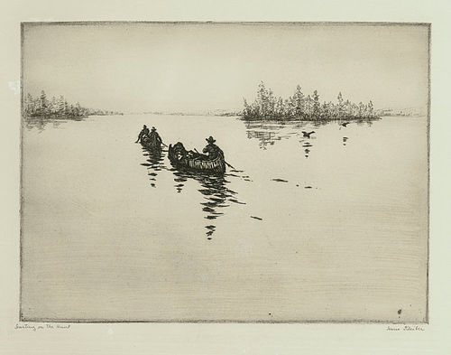 """Hans Kleiber, etching, """"Starting on the Hunt"""""""