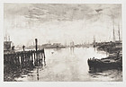 "Stephen Parrish, etching, ""Gloucester Harbor after W.M. Hunt"", 1882"