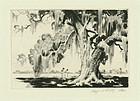 Alfred Hutty, etching, Edisto Live Oak, 1944