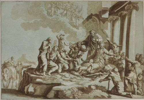 Johann Prestel, etching, The Adoration of the Shepherds, 1784, 425.00
