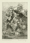 Isabel Bishop, etching, Double Date Delayed, 1948, 950.00