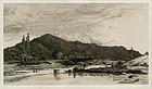 "Stephen Parrish, etching, ""The Upper Hudson"", 1881, 525.00"