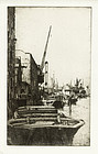 """Ernest Stephen Lumsden, etching, """"Rotherhithe"""", 1921, 675.00"""