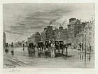 """Felix Buhot, etching, """"Une Matinee D'Hiver au Quai de L'Hotel Dieu"""""""