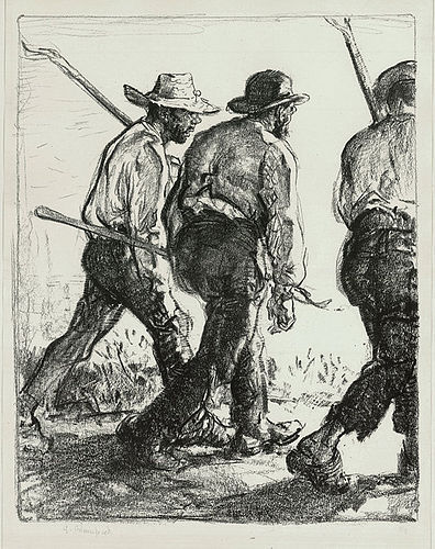"Edmund Blampied, lithograph, ""Itinerant Farmers"", c. 1920, 975.00"