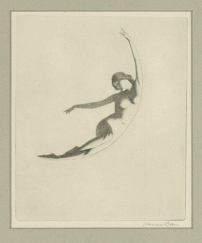 Warren Davis, etching, Nude Female Figure, 425.00