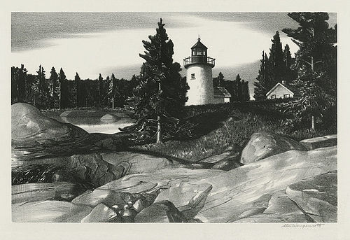 Stow Wengenroth, lithograph, Inlet Light, 1938, 550.00