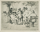 William Meyerowitz, etching, Men Gathered in a Park, c. 1925