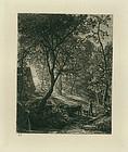 Samuel Palmer, etching, Herdsman Cottage, 1850, 725.00