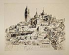 "John Taylor Arms etching, ""Segovia"", 1929"