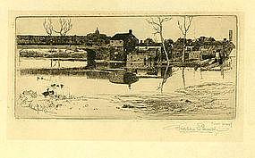 "Stephen Parrish etching, ""Bethlehem Penn"""
