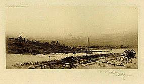 """Stephen Parrish etching, """"Riverdale, Cape Ann"""""""