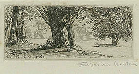 """Sir Francis Seymour Haden, Etching, """"The Holly Field"""""""
