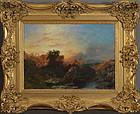 Samuel John E.Jones, painting, Sunset landscape, 1851