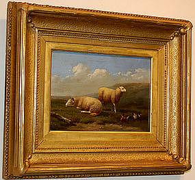 "Jacob van Dieghem, Painting, ""Sheep and Mallards"""