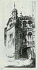 """John Taylor Arms, Etching, """"Chateau Stockalper Brique"""""""