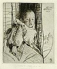 """William Lee Hankey etching, """"Leon Etaples"""" 1923"""