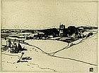 "William Lee Hankey etching, ""La Brette"""