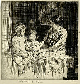 "William Lee Hankey etching, ""The Birthday"""