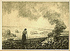 "Albert W. Barker, Lithograph, ""Stubble Fire"""
