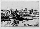 """Adolphe M.T. Beaufrere, Etching, """"Quimpere, Brittany"""""""
