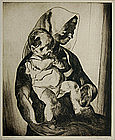 "John Edward Costigan, Etching, ""Mother and Child"""