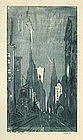 "Leon Louis Dolice, Etching, ""Manhatten Nights"""