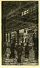 "Leon Louis Dolice, Etching, ""The Bowery"""