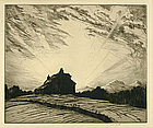 "Martin Hardie, Etching, ""Sunset"""