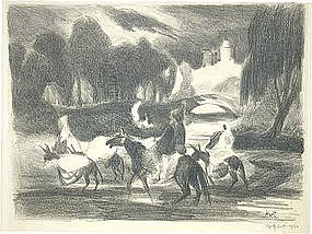 """George O. """"Pop"""" Hart, Lithograph, """"Figures on Donkeys"""""""