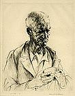 "Arthur Heintzelman, Etching, ""Vigneron"""