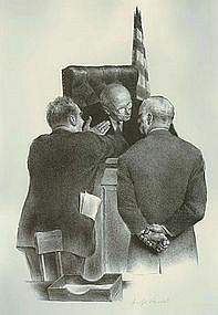 """Joseph Hirsch, Lithograph, """"Conference at the Bench"""""""