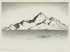 """Clifford Lewis, Lithograph, """"Red Mountain"""""""