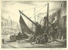 "Charles Wheeler Locke, Lithograph, ""Waterfront"""