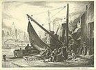 "Charles Wheeler Locke, Lithograph, ""Waterfront"""