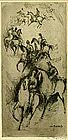 "William Meyerowitz, Etching, ""Horses with Riders"""