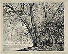 "Robert Hogg Nisbet, Etching, ""Through the Willows No 2"""