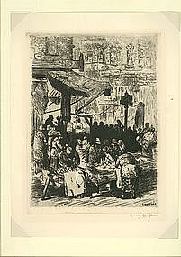 """Irving Wolfson, Etching, """"East Side Market"""""""