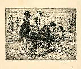 """Charles P. Renouard, Etching, """"Bathers"""""""