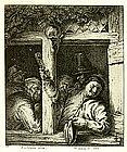 """Charles Jacques, Engraving, """"Paysans se Desalterat"""""""