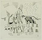 """Jean Emile Laboureur, Engraving, """"Lest Trois Pecheuse"""""""