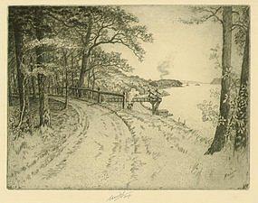 "Charles Mielatz, Etching, ""Along the Hudson"""