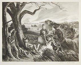 "John S. deMartelly, lithograph, ""Blue Valley Fox Hunt"""