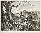 "John S. deMartelly, lithograph, ""Blue Valley Fox Hunt"""