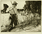 "William Lee Hankey, etching, ""Field Workers"""