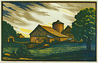 "Channing Smith, woodblock, ""John Brown's Barn"""