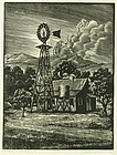 "Channing Smith, woodblock, ""Windmill at Sunnyside"""