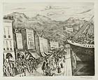 """Hermine David, etching, """"Dockside, Seine"""""""