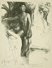 "Arthur Bowen Davies, lithograph, ""Dominion"""